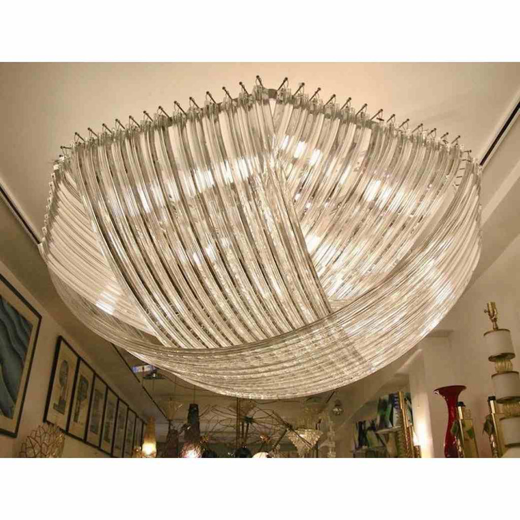 Monumental Italian Minimalist Crystal Clear Murano Glass Curved Chandelier - Cosulich Interiors & Antiques