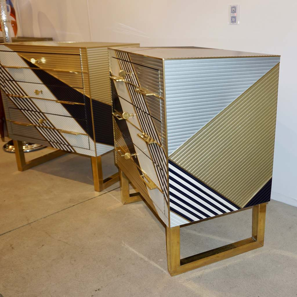 Bespoke Italian Postmodern Black Gold Gray Chests or Nightstands on Brass Legs