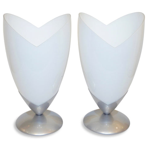 1970s Italian Pair of Satin Nickel & White Glass Tulip Table Lamps by Tronconi