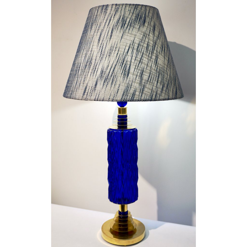Contemporary Italian Pair of Brass and Cobalt Blue Murano Glass Table Lamps