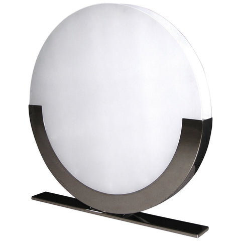 Monumental Italian Design White and Chrome Round Floor or Table Lamps