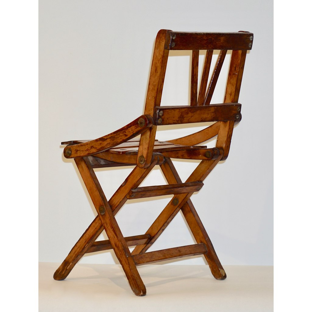 Antique 1950s Italian Handcrafted Oak Doll / Miniature Folding Chair