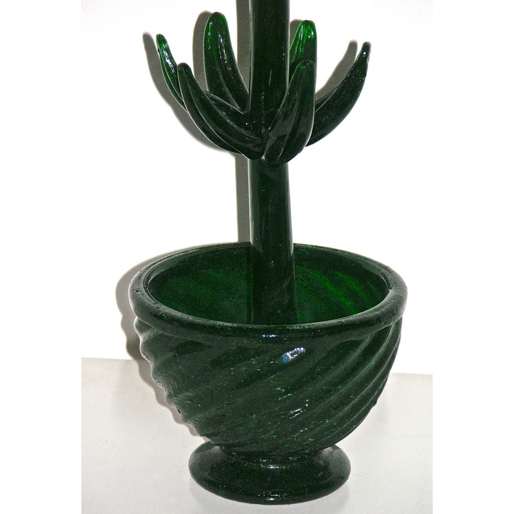 1980s Italian Organic Green Murano Glass Potted Plant with Red Flower