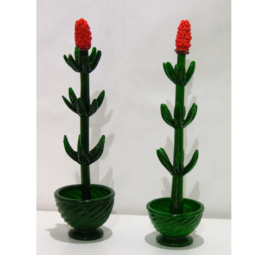 1980s Italian Pair of Organic Green Murano Glass Potted Plants with Red Flower