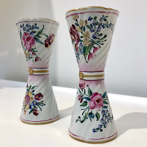 1870s St. Clement French Faience Majolica Pair of White Pink Flower Vases