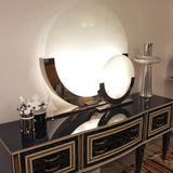 1990 Minimalist Italian Design Pair of White and Chrome Round Table Lamps