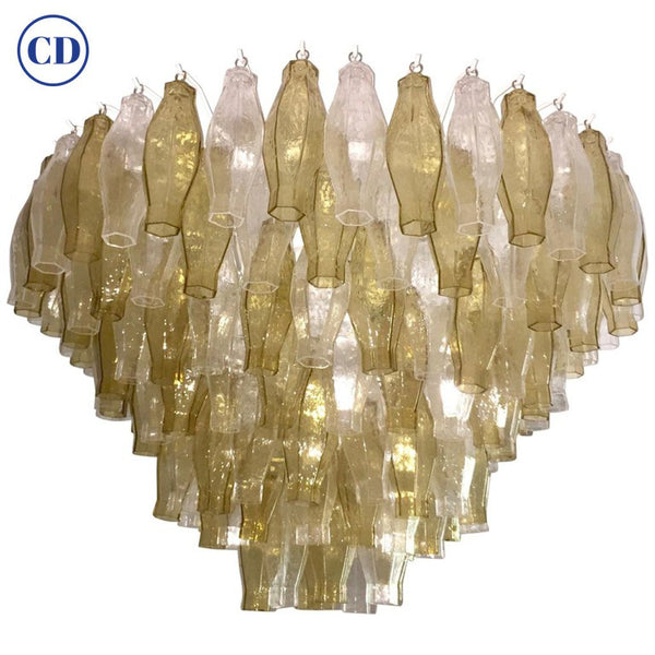 Contemporary Italian Poliedri Amber and Crystal Clear Murano Glass Chandelier