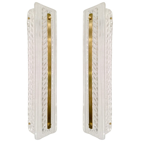 Italian Modern Pair of Tall White and Crystal Clear Leaf Textured Murano Sconces