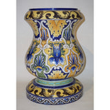 Montagnon French 19th Century Blue Yellow Green Majolica Jardinière on Stand
