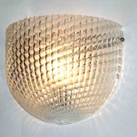1950 Crystal Textured Murano Glass Sconces attributed to Barovier Toso