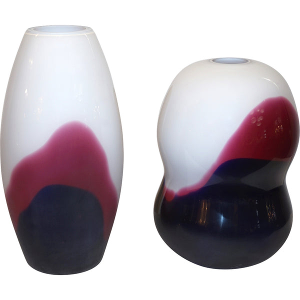 Formia 1980 Italian Vintage Purple Blue White Murano Glass Modern Design Vases