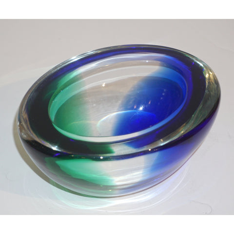 Venini 1970s Italian Murano Glass Geometric Oval Blue Green Murano Glass Bowl