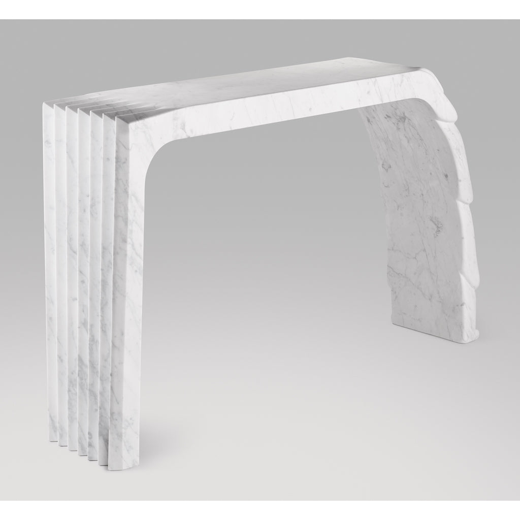 Contemporary Atelier Terrai Italian White Carrara Marble Art Deco Design Console