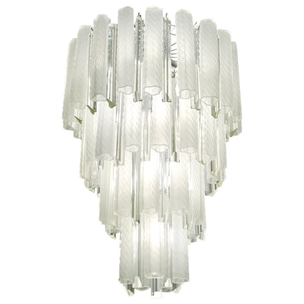 Venini 1960s Cylinder Crystal and White Murano Glass Round Chandelier on Nickel