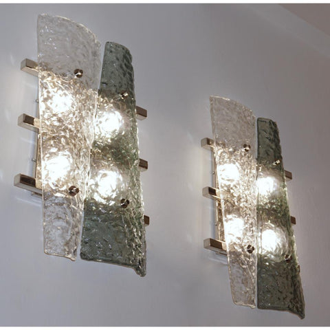 Contemporary Pair of Geometric Crystal & Aqua Green Murano Glass Nickel Sconces