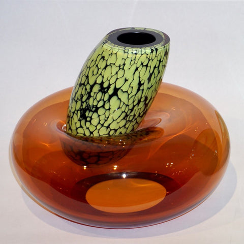 Hilton McConnico by Formia 1990s Italian Orange Murano Art Glass Vase