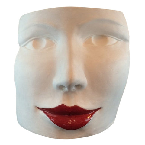 """Red Lips Face"" Terra Cotta Sculpture by Ginestroni"