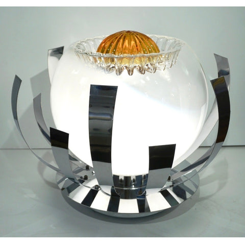 Mazzega 1960s Nickel White & Amber Murano Art Glass Flower Desk / Table Lamp