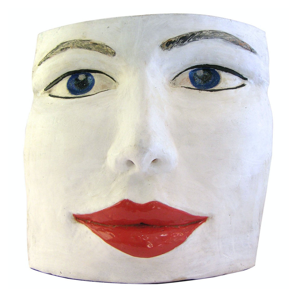 Blue Eyes Face Terra Cotta Sculpture by Ginestroni