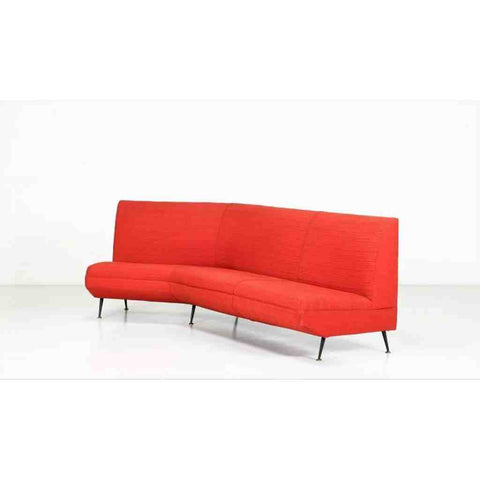 Italian 1950s Curved Lacquered Metal Brass and Red Fabric Sofa