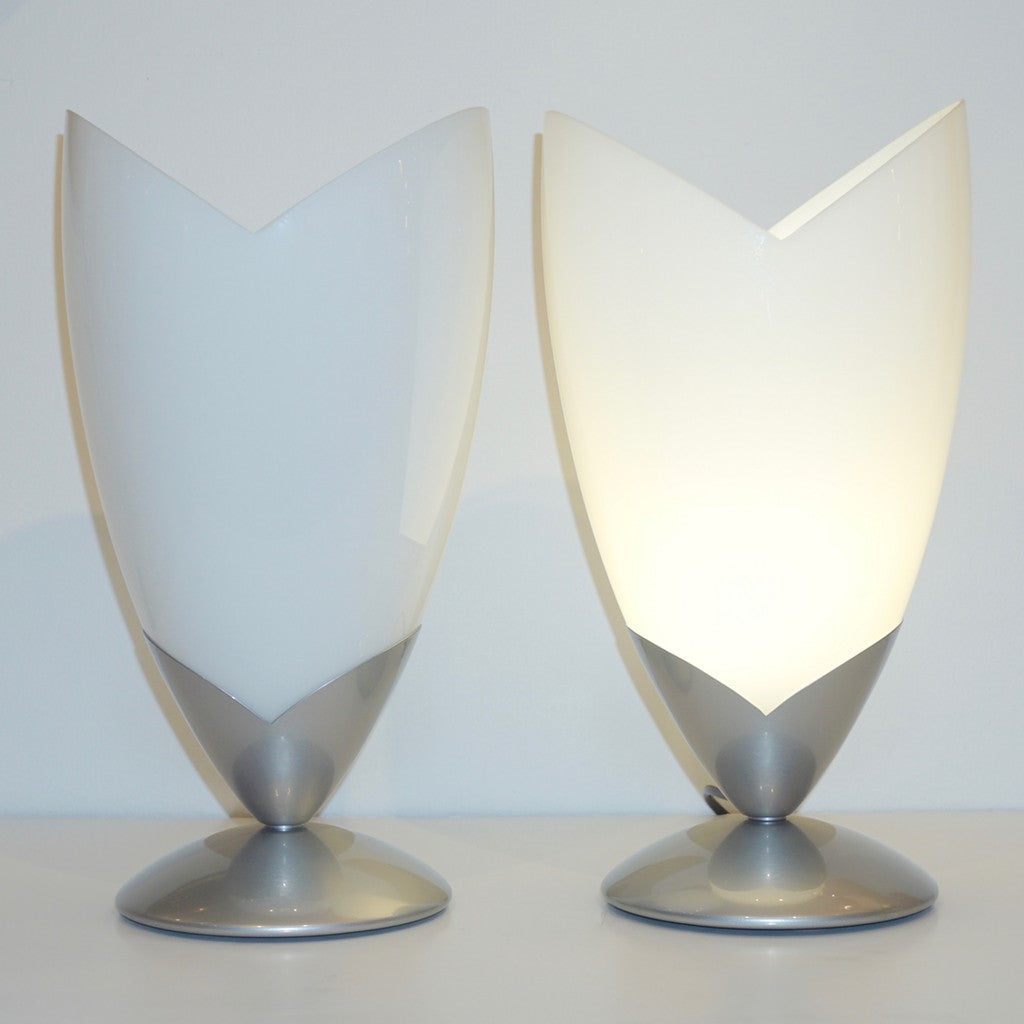 1970s Italian Pair of Satin Nickel & White Glass Organic Tulip Lamps by Tronconi