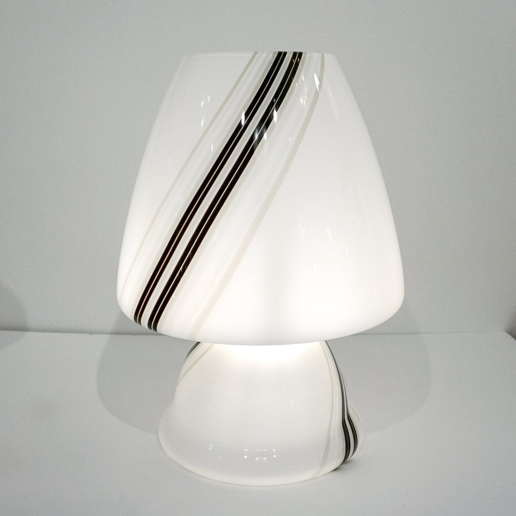 Vintage 1970s Italian Large White Table Lamp with Black Murrine Attributed to Vistosi