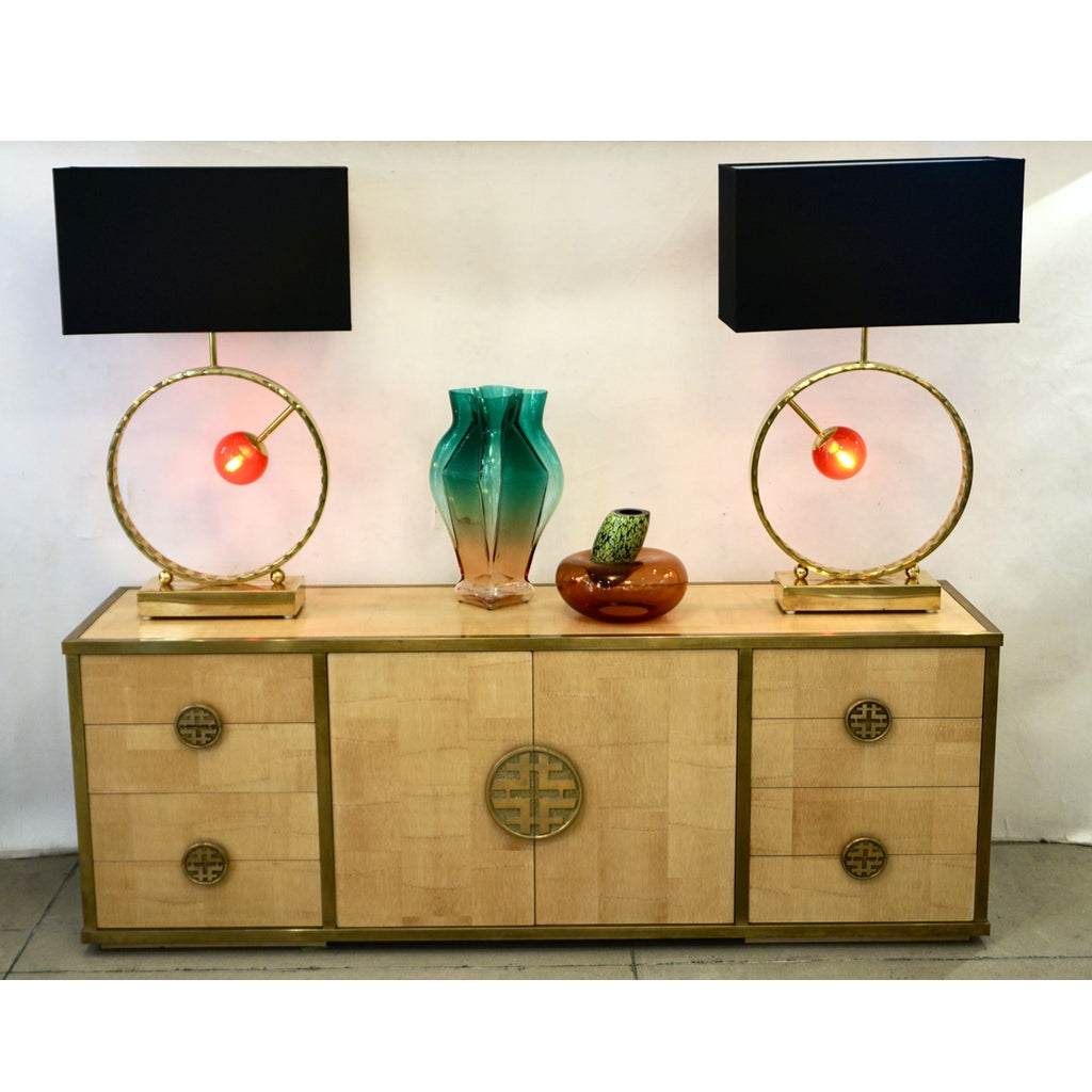 Sinopoli 1970s Italian Back Finished Asian Style Brass Bamboo Sideboard/Cabinet