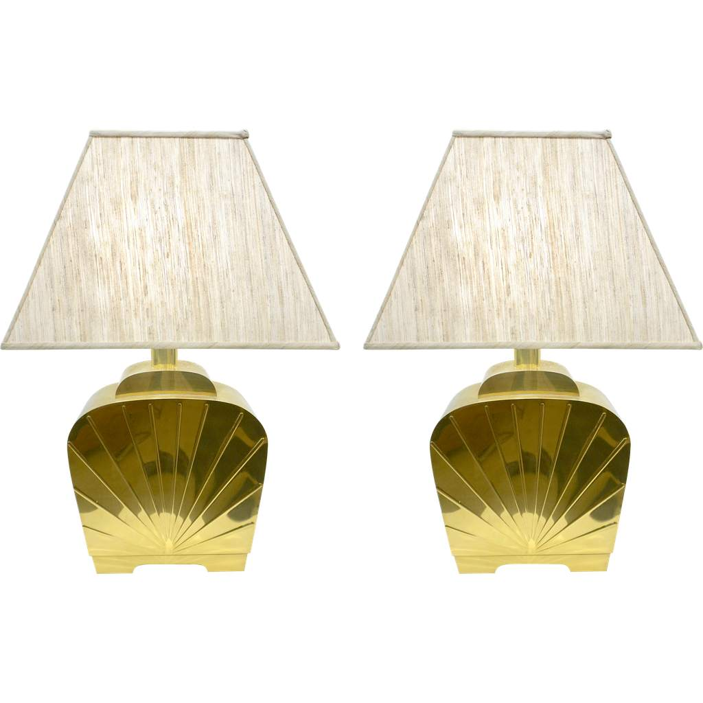 1970s Chapman Vintage Art Deco Design Pair of Hollywood Regency Gold Brass Table Lamps