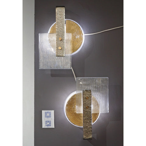 Italian Pair of Abstract Modern Gold Silver and Crystal Murano Glass Sconces