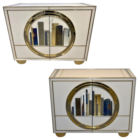 Italian Contemporary Bespoke Ivory Cabinets with New York Blue & Gold Skyline