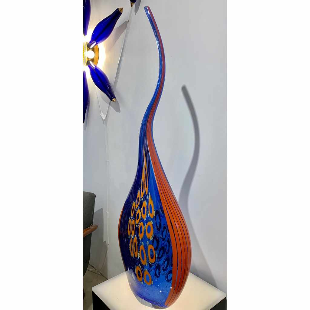 Dona Modern Art Glass Blue and Orange Sculpture Vase with Red and Yellow Murrine