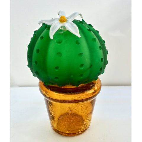 Formia 1990s Vintage Italian Green Murano Glass Cactus Plant with White Flower