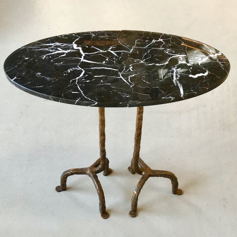Bespoke Italian Oval Bronze Black & White Marble Side Table Doubling as a Pair
