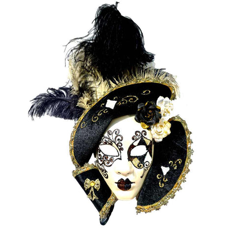 Italian Modern Venetian Handmade White Black and Gold Carnival Mask with Fabric Hat Collar and Feathers - Cosulich Interiors & Antiques