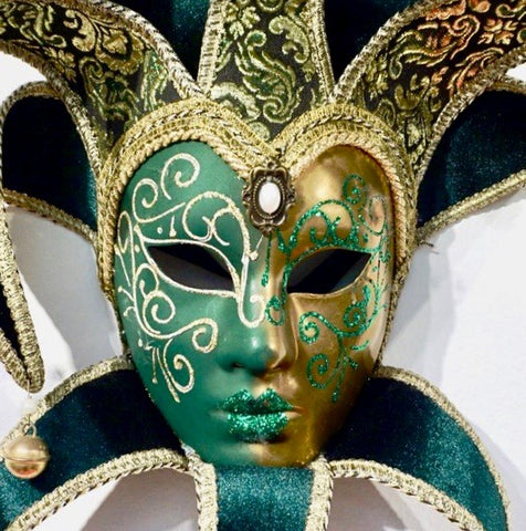 Venetian Green or Cobalt Blue and Gold Modern Mask with Jester Collar and Bells - Cosulich Interiors & Antiques