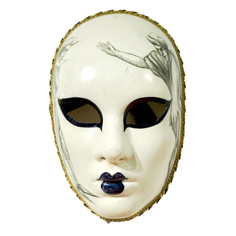 Venetian Handmade Carnival Mask with Drawing - Cosulich Interiors & Antiques
