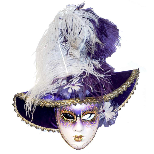 Italian Modern Venetian Handmade Carnival Purple and Gold Mask with Fabric Hat and Feathers