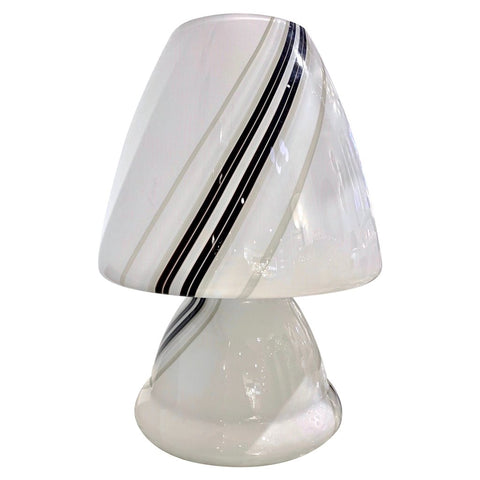 Vintage 1970s Italian Large White Lamp with Black Murrine Attributed to Vistosi