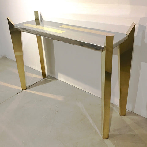 1970's Vintage Italian Brass and Nickel Wood Console of Modern Graphic Design - Cosulich Interiors & Antiques