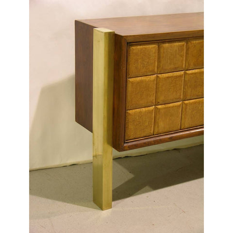 Paolo Buffa 1940s Minimalist Dark & Light Wood Cabinet / Sideboard on Brass Legs