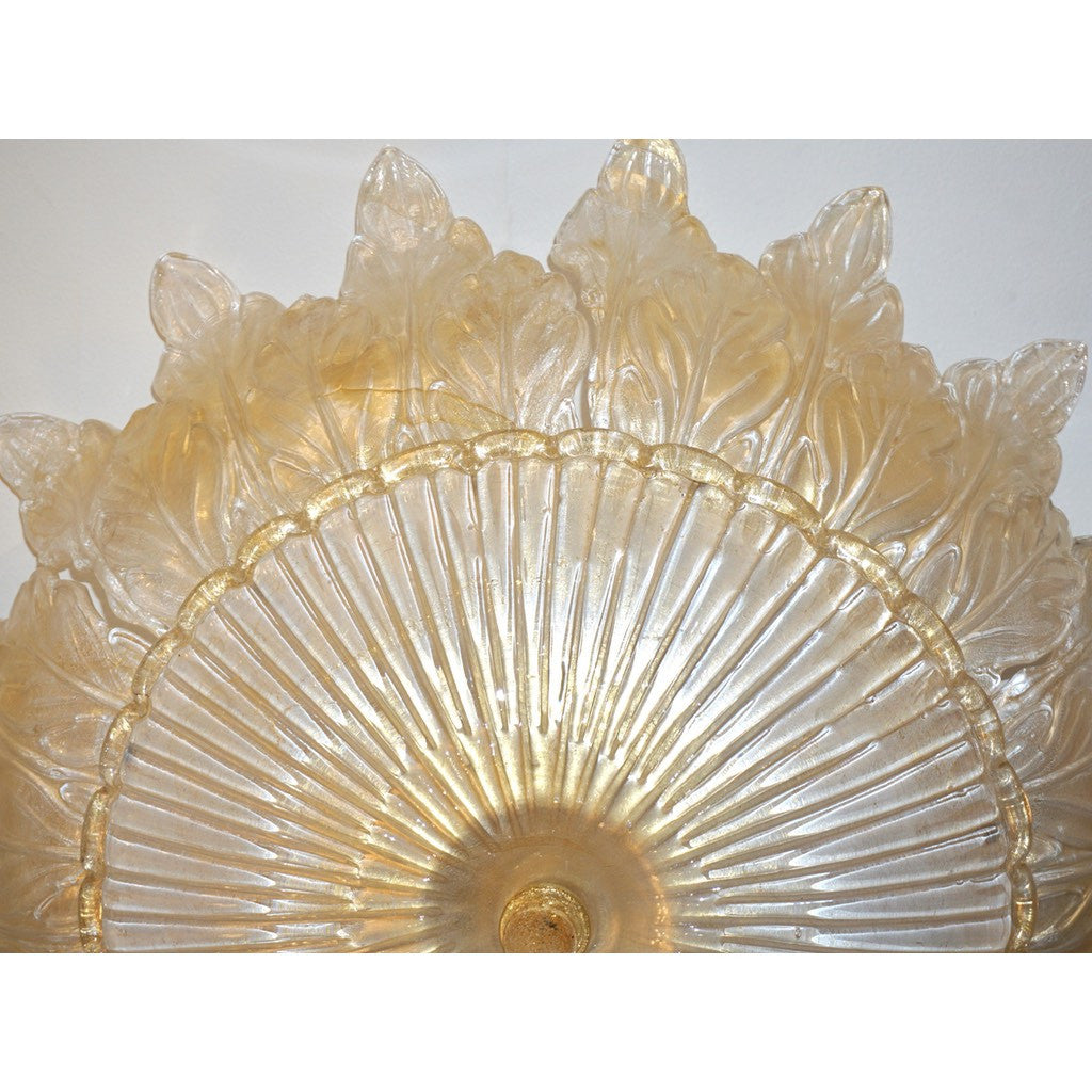 1970s Vintage Ivory and Gold Murano Glass Flush Mount Chandelier - Cosulich Interiors & Antiques