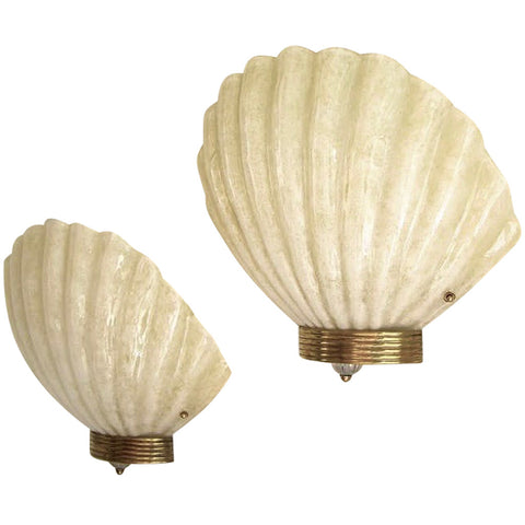 1970s Art Deco Style Pair of Vintage Shell Sconces in Gold & White Murano Glass