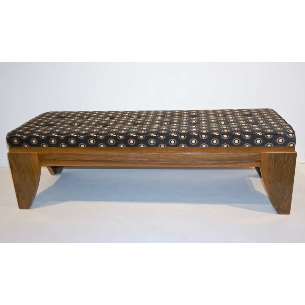 Smania 1970s Vintage Italian Brown and White Modern Design Bench in Solid Walnut - Cosulich Interiors & Antiques
