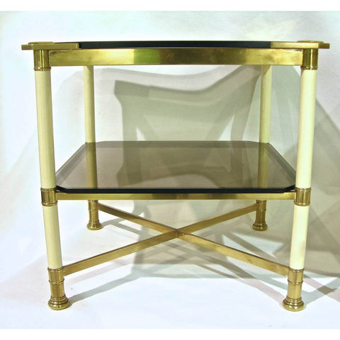 Vivai del Sud 1970s Rare Pair of Smoked Glass and Ivory Brass Side Tables - Cosulich Interiors & Antiques