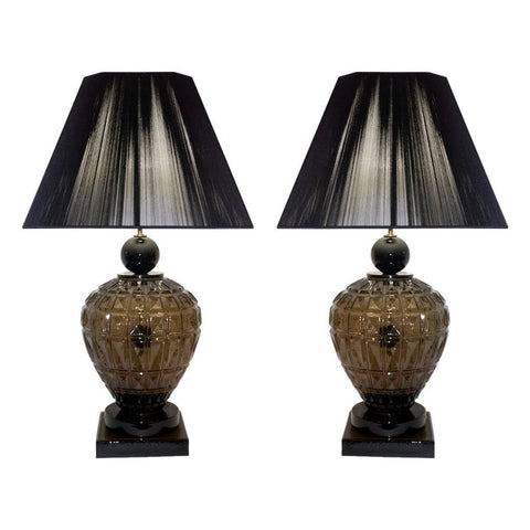 Vivarini 1970s Italian One-of-a-Kind Pair of Black and Smoked Murano Glass Lamps - Cosulich Interiors & Antiques