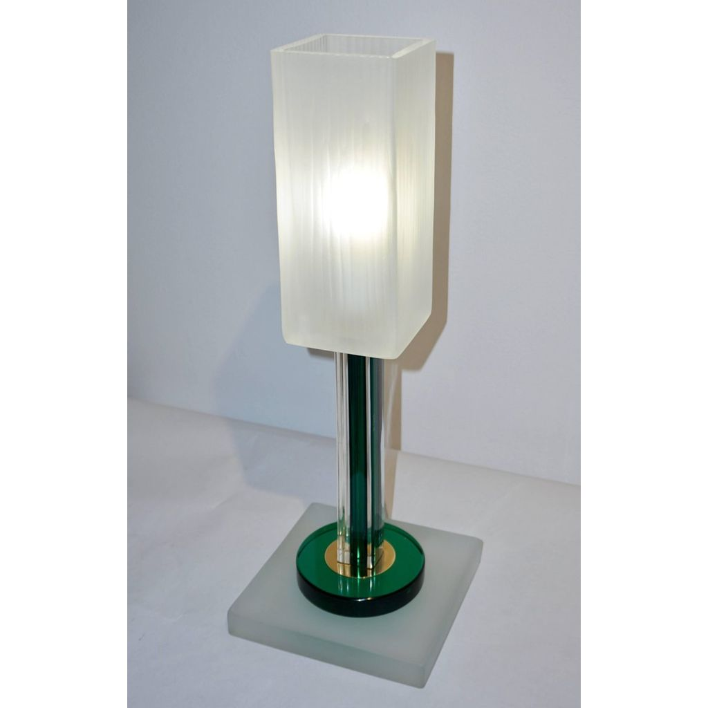 Venini Vintage Green Pair of Table Lamps with White Frosted Murano Glass Shades