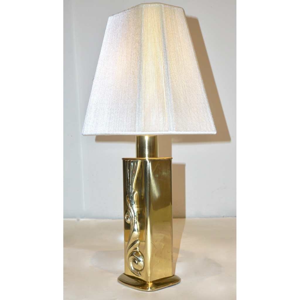 Lipparini 1960s Italian Vintage Pair of Gold Brass Lamps with White Silk Shades - Cosulich Interiors & Antiques