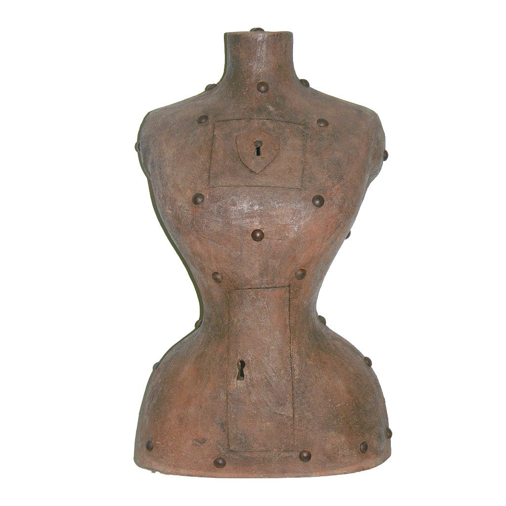Contemporary Italian Sculpture of a Modern Bust in Brown Terracotta with Keyholes - Cosulich Interiors & Antiques