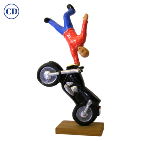 Figure on Motorcycle Terra Cotta Sculpture by the Italian Artist Ginestroni - Cosulich Interiors & Antiques