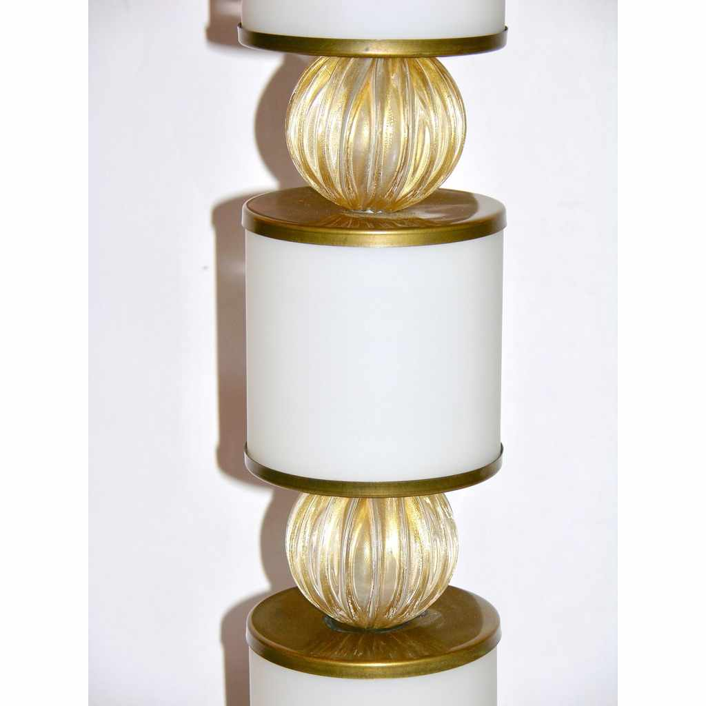 Albarelli 1960 Tall Pair of White and Gold Murano Glass Lamps - Cosulich Interiors & Antiques
